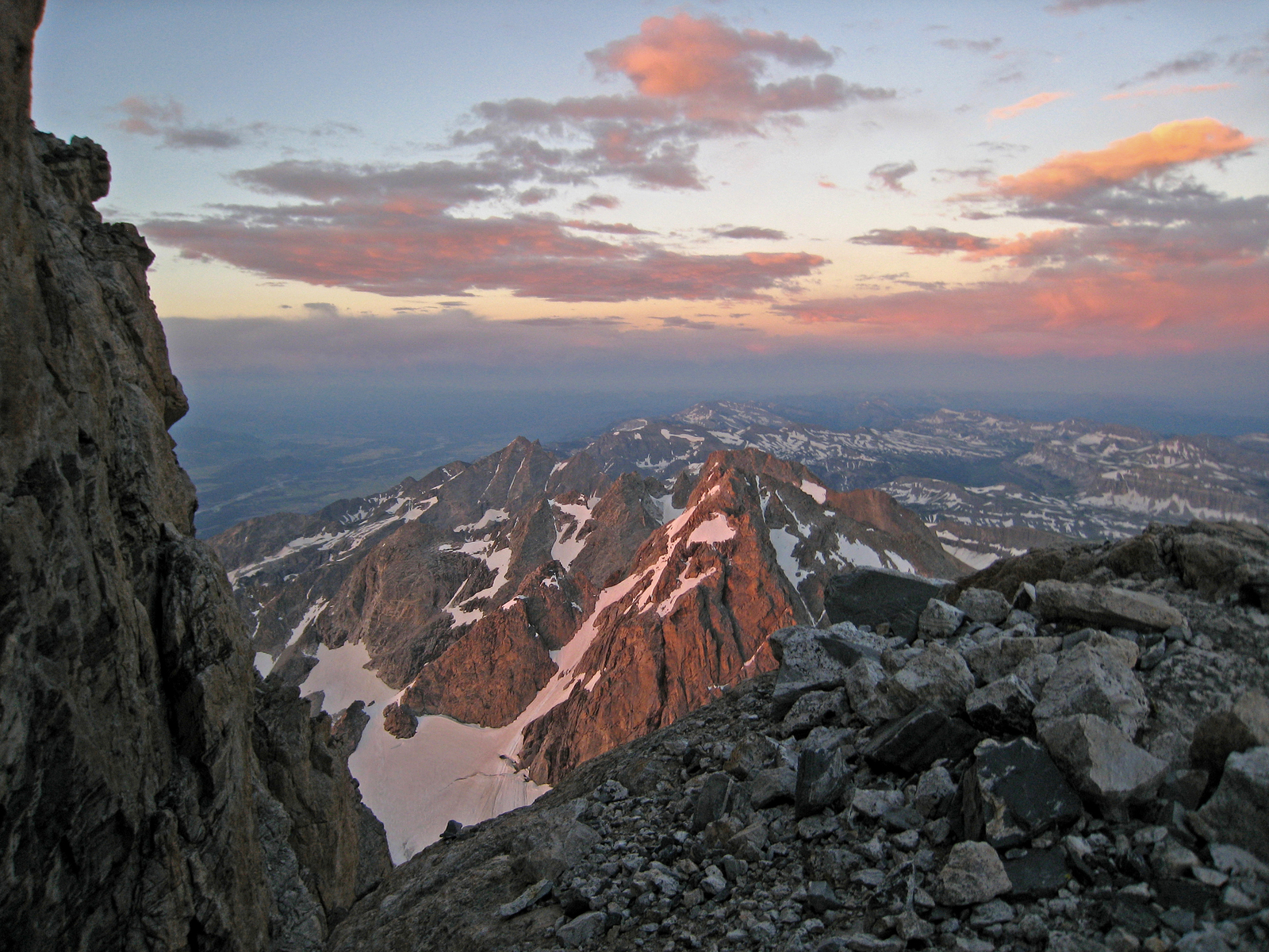 looking south from high on the Grand Teton, Grand Teton National Park, Wyoming