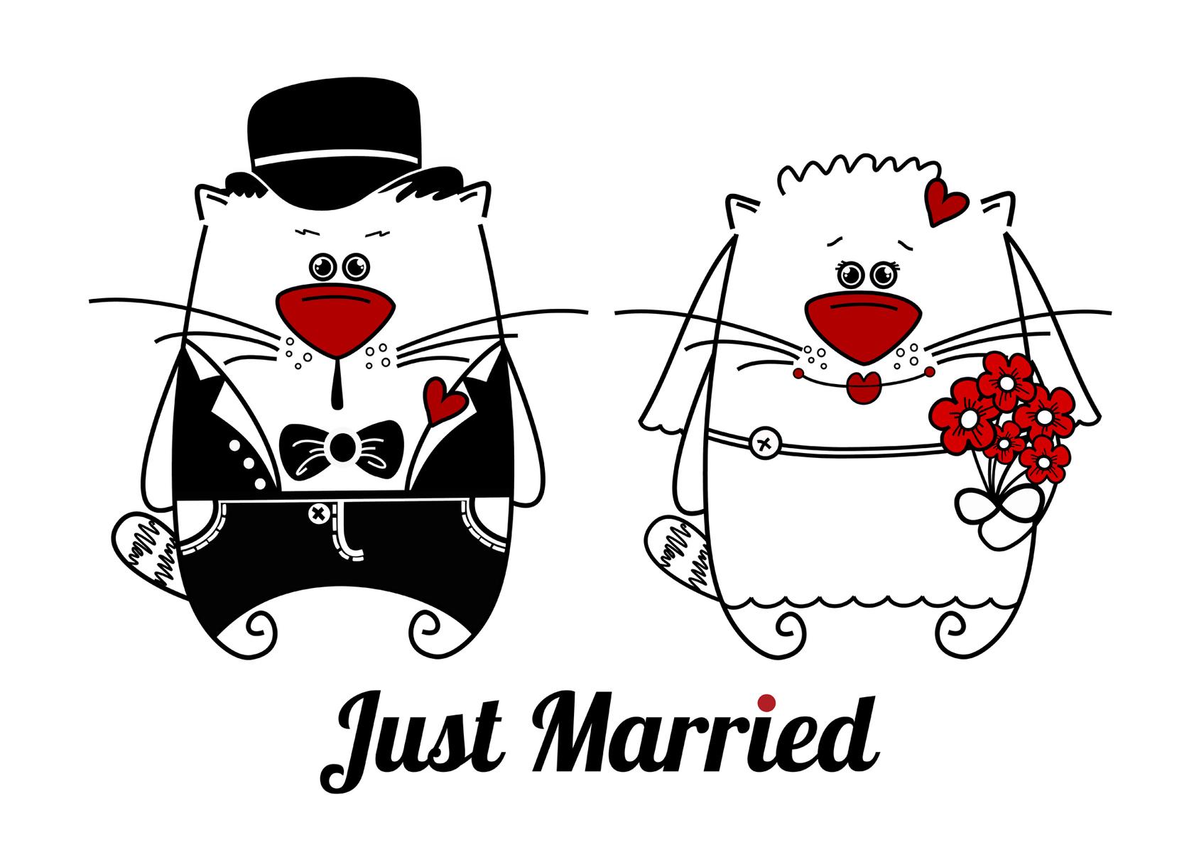 Открытки на свадьбу котики