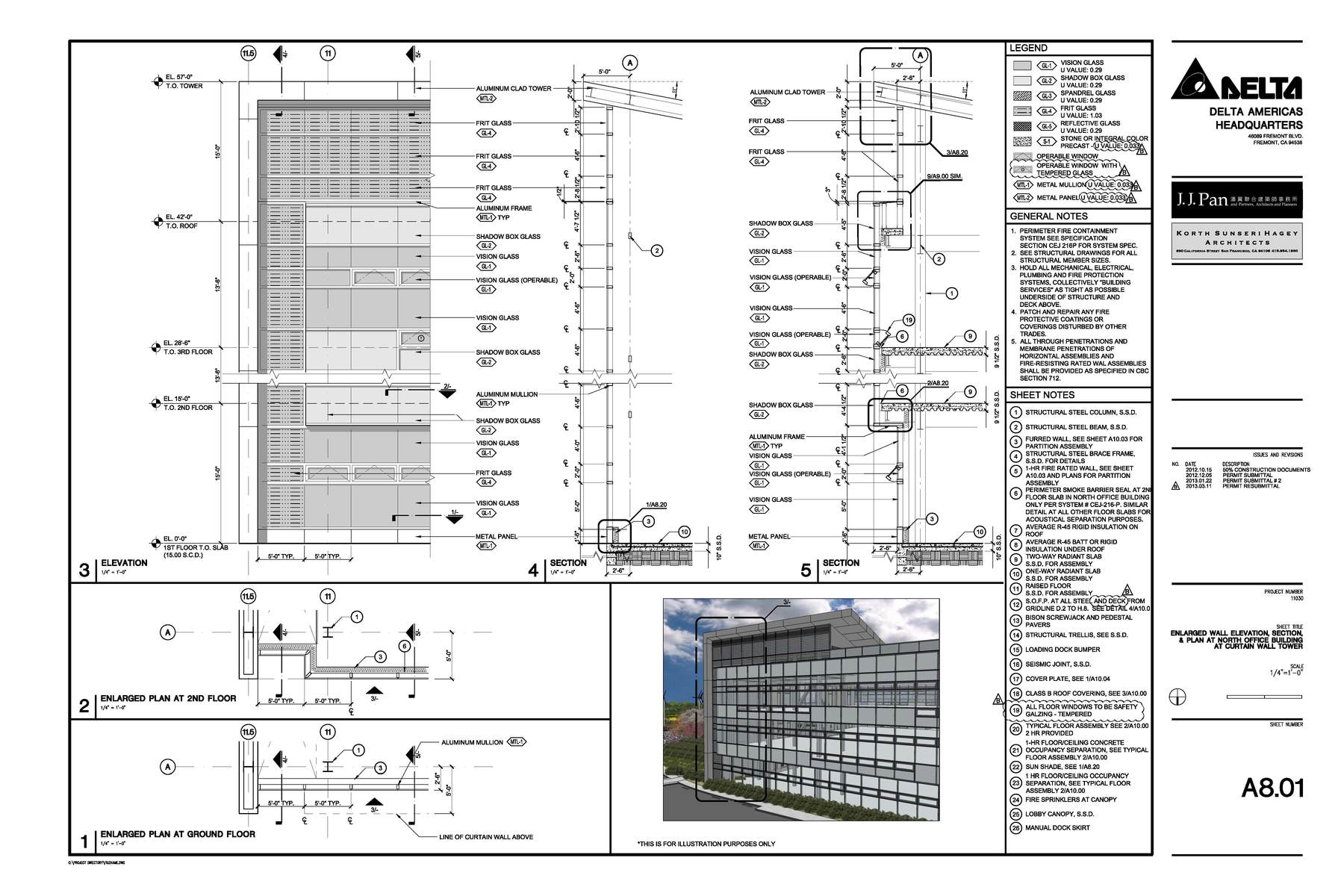 Construction Documents Enlarged Plan, Elevation, and Section