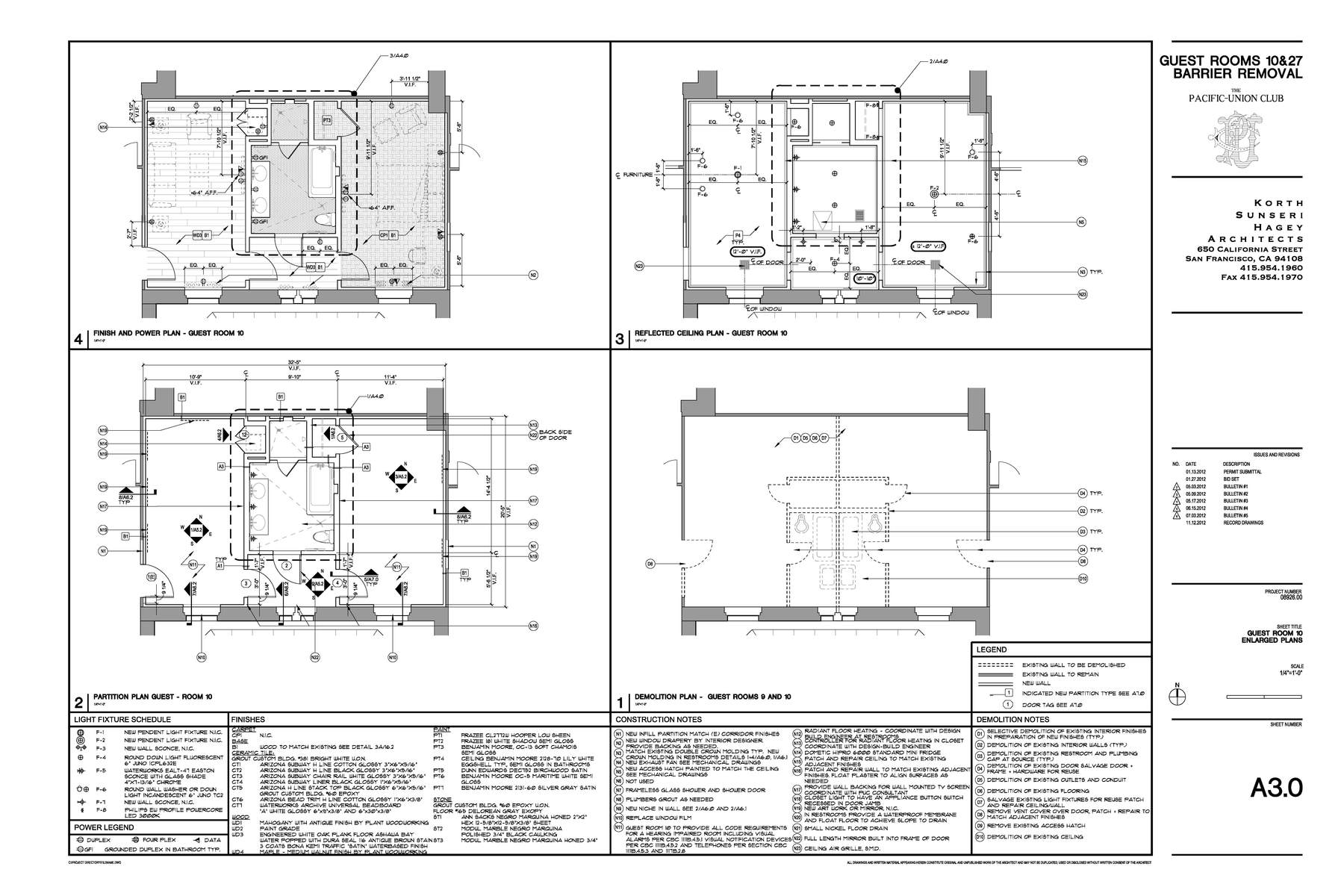 Construction Documents Enlarged Floor Plan