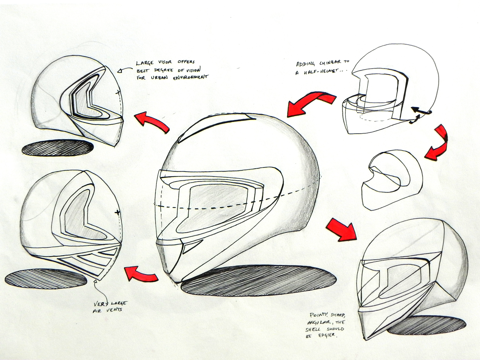 Early stage concepts for the motorcycle helmet.
